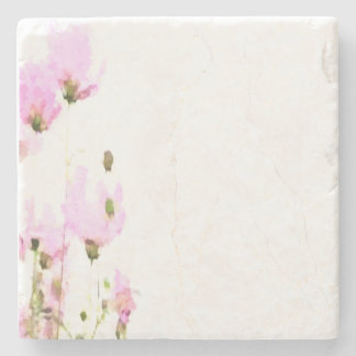 ABSTRACT FLOWERS MARBLE COASTER