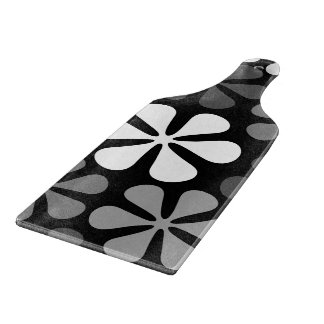 Abstract Flowers Monochrome Cutting Board