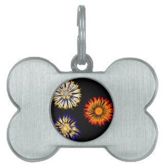 Abstract Flowers Pet Name Tag
