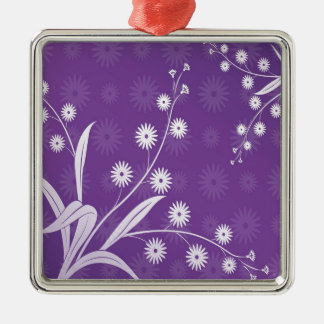 Abstract Flowers Purple Pattern Ornaments