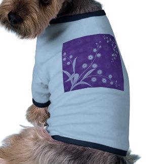 Abstract Flowers Purple Pattern Doggie T Shirt