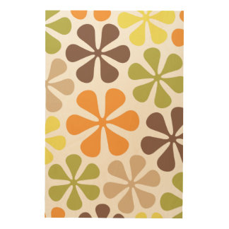 Abstract Flowers Retro Colors Wood Prints