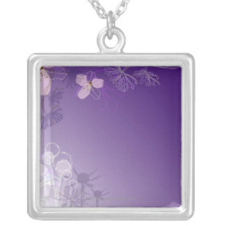 Abstract Flowers Silver Plated Necklace