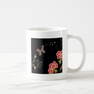 Abstract Flowers Warm Colors Black Butterfly Basic White Mug