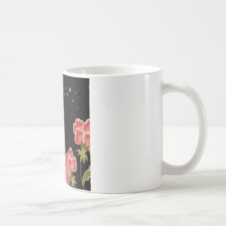 Abstract Flowers Warm Colors Black Butterfly Mug