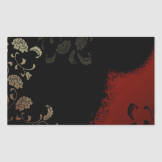 Abstract Flowers Warm Colors Black Pattern Rectangular Stickers