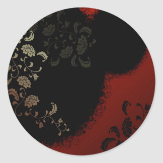 Abstract Flowers Warm Colors Black Pattern Round Stickers