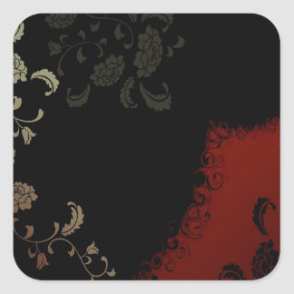Abstract Flowers Warm Colors Black Pattern Stickers