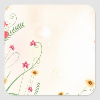 Abstract Flowers Warm Colors Garden Square Stickers