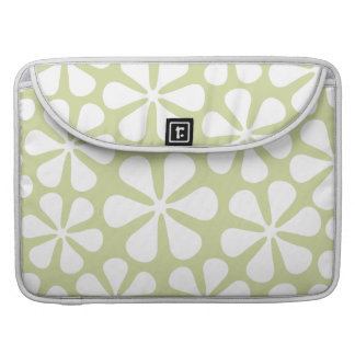 Abstract Flowers White on Lime Sleeve For MacBooks