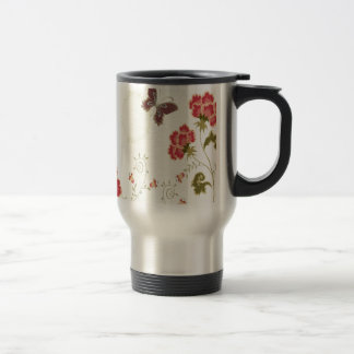Abstract Flowers White Summer Butterfly Stainless Steel Travel Mug