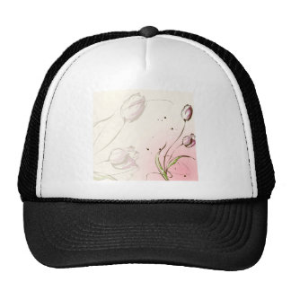Abstract Flowers White Tulip Trucker Hats