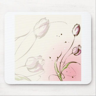 Abstract Flowers White Tulip Mousepad
