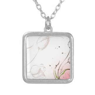 Abstract Flowers White Tulip Necklace