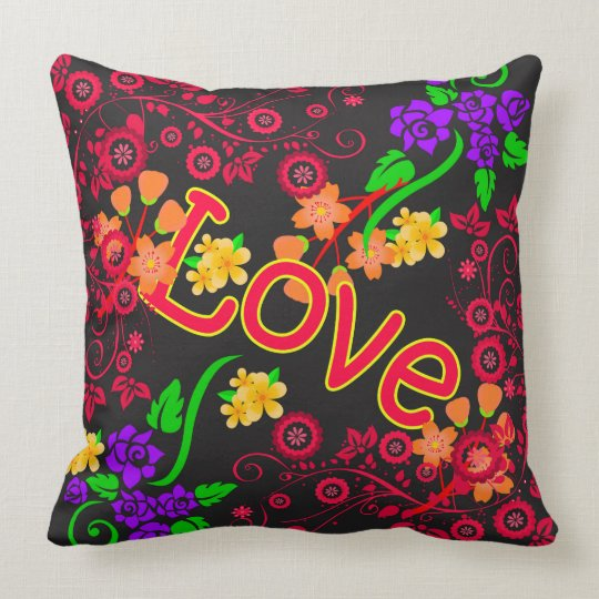 Abstract Flowers with text LOVE Cushion