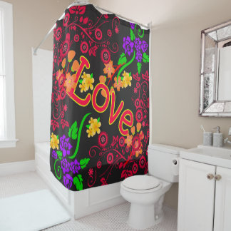 Abstract Flowers with text LOVE Shower Curtain