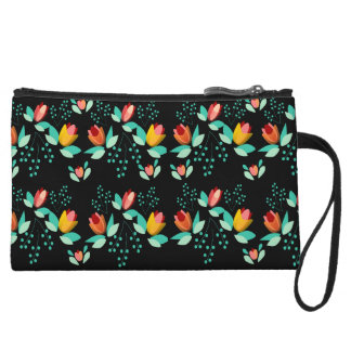 abstract flowers wristlet