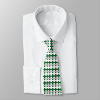 Abstract Forest Green, Silver and White Tie
