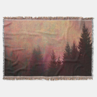 Abstract Forest Landscape Art Grunge Sky Colors Throw Blanket