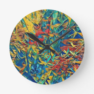 Abstract Forest Round Clock