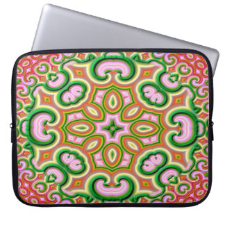 Abstract Fractal Art Pink And Green Laptop Sleeve