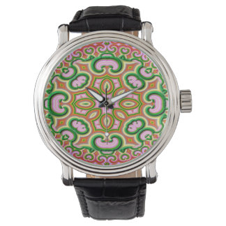 Abstract Fractal Art Pink And Green Watch