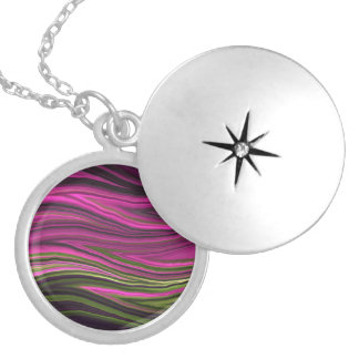 Abstract Fractal Art Silver Plated Round Locket