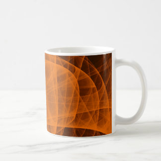 Abstract Fractal Eternal Rounded Cross in Orange Coffee Mug