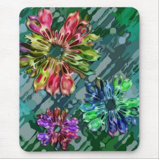 abstract fractal flowers 2D | green blue splatter Mouse Pad