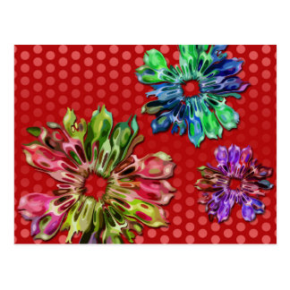 abstract fractal flowers 2D | red dots Postcard