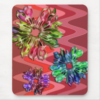 abstract fractal flowers 2D | sinus red Mouse Pad
