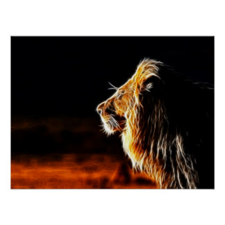Abstract fractal lion Poster