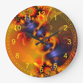Abstract Fractal Orange Eyes Aglow Clocks