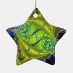 Abstract fractal patterns and shapes. Fractal Art Ceramic Star Decoration