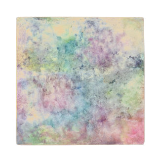 abstract free hand drawing from watercolor wood coaster