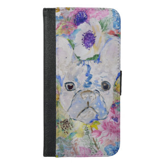Abstract French bulldog floral watercolor paint iPhone 6/6s Plus Wallet Case