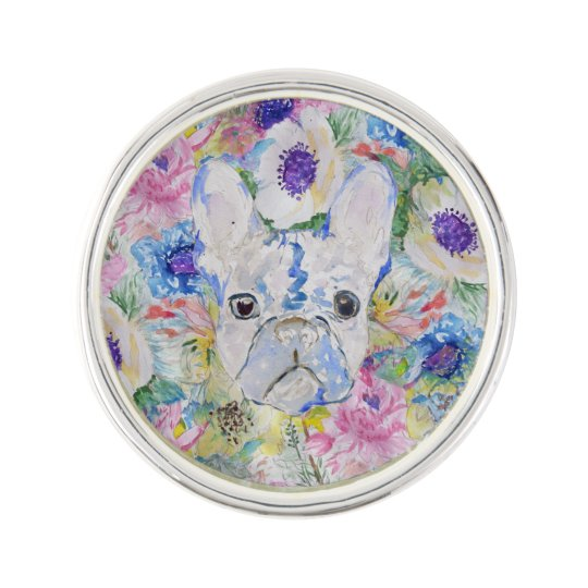 Abstract French bulldog floral watercolor paint Lapel Pin
