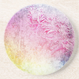 Abstract frosty art digital yellow pink purple fun coasters