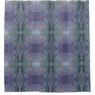 Abstract Funky Kaleidoscope Purple Blue and Black Shower Curtain