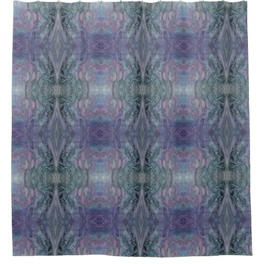 Abstract Funky Kaleidoscope Purple Blue and Black Shower