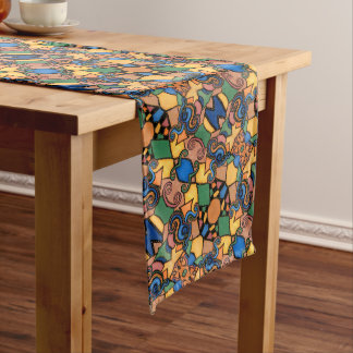 Abstract Funky Multicolored Pattern Long Table Runner