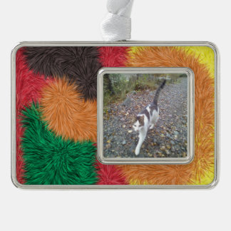 Abstract furry person paattern silver plated framed ornament
