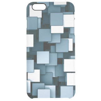 Abstract Futuristic Blue Cube Voxel Pattern Clear iPhone 6 Plus Case