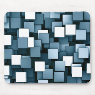 Abstract Futuristic Blue Cube Voxel Pattern Mouse Mat