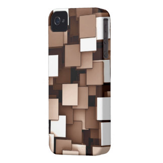Abstract Futuristic Brown Cube Voxel Pattern Case-Mate iPhone 4 Cases