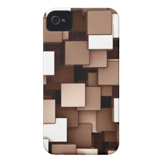 Abstract Futuristic Brown Cube Voxel Pattern Case-Mate iPhone 4 Case