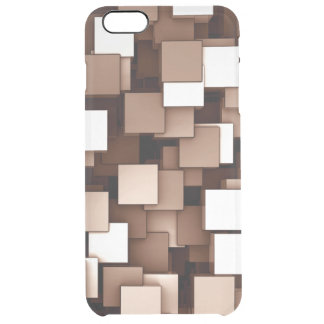 Abstract Futuristic Brown Cube Voxel Pattern Clear iPhone 6 Plus Case