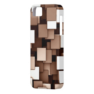 Abstract Futuristic Brown Cube Voxel Pattern iPhone 5 Cover