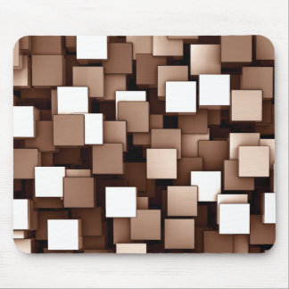 Abstract Futuristic Brown Cube Voxel Pattern Mouse Pad