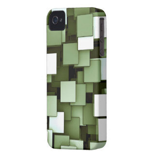 Abstract Futuristic Green Cube Voxel Pattern iPhone 4 Case
